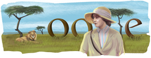 Google Logo: Karen Blixenu's Birthday, Danish author, best known for Out of Africa